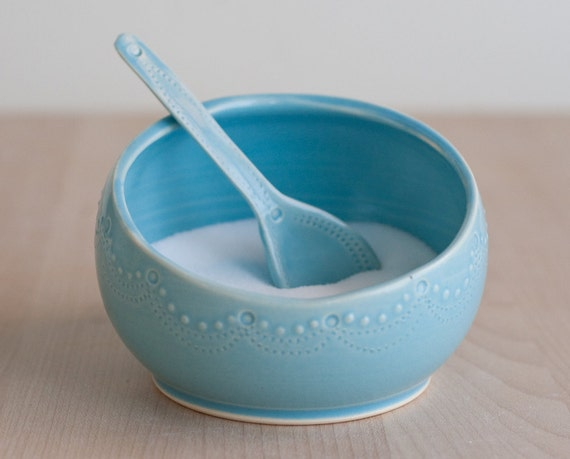 Salt Cellar and Spoon - Aqua