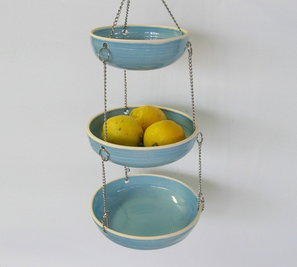 Hanging Fruit Basket Set Of 3 MADE TO ORDER Aqua Blue