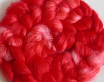 FIRECRACKER - 2oz Milk fiber - hand-dyed red top for spinning - PIgtails from COLORBOMB Creations
