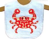 Baby Crab Bib -  Boy Girl Unisex - Nautical - New Baby Gift - Red