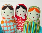 One Babushka Russian Matryoshka Cloth Softie Doll for New Baby -Toddler - Youth Girl Gift - Pick 1 of My Doll Designs