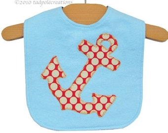 Anchor Baby Bib - Boy - Nautical - New Baby Gift