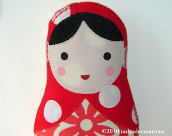 Matryoshka Babushka Russian Cloth Baby Doll - Toddler - Youth Girl - Black Haired in Red - New Baby Gift