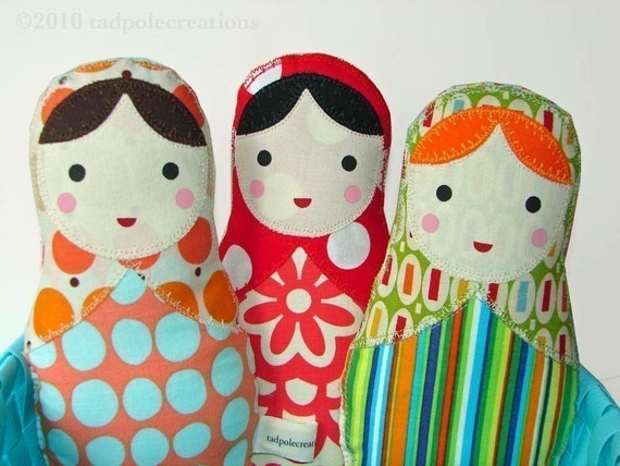 One Babushka Russian Matryoshka Cloth Softie Doll for New Baby -Toddl,er - Youth Girl Gift - Pick 1 of My Doll Designs