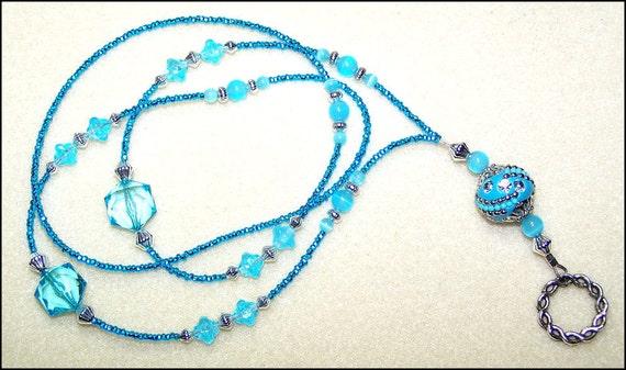 Caribbean Waters - beaded lanyard - aqua blue glass beaded ID badge lanyard necklace for teacher nurse gift