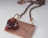 Love is Timeless  - Etched Copper Pendant with Boro Glass Heart