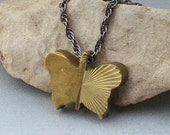 Brass Butterfly Solitaire Necklace - Destination Angangueo