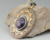 Mixed Metals and Glass Bezel Set Pendant Necklace Brass Silver Funky Turtle - Purplelicious