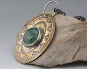 Mixed Metals and Glass Bezel Set Pendant Necklace Brass Sterling Silver Funky Turtle - Cool Sea Breezes