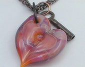 Boro Glass Lampwork Heart Lock Necklace Vintage Key- Undecided Also