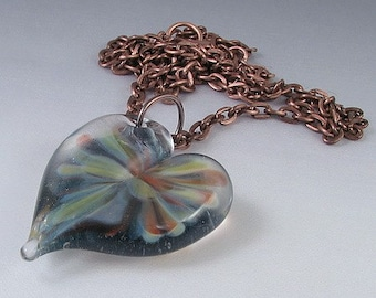 Fourth of July  Fireworks - Handmade Boro Lampwork Heart Pendant