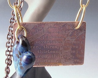 Mixed Metal Boro Glass Heart Necklace Borosilicate Copper Brass Forever in My Heart