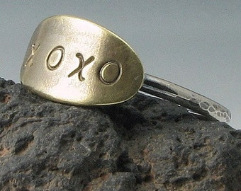 xoxo Oval Handstamped  Sterling Silver and Brass Ring - Made To Order