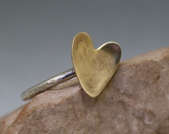 Mixed Metal Heart Ring Silver Brass Stacker Custom Order