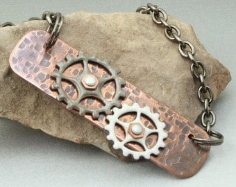 Mixed Metals Enamel Copper Gear Necklace - All Geared Up - Otis