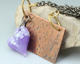 Textured Copper Pendant with Lavender Boro Glass Heart  Young at Heart
