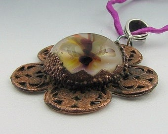 Copper Electroformed Lampwork Glass Pendant Sterling Silver Silk - Garden Variety