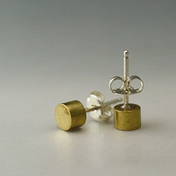 Handmade Sterling Silver Brass Stud Earrings Cylindrical