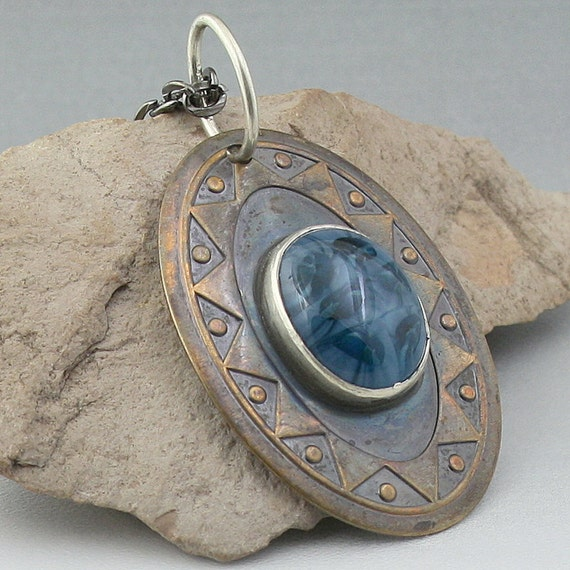 Mixed Metals and Glass Cab Cabochon Bezel Set Pendant Necklace Brass Silver Funky Turtle - Blue Lagoon