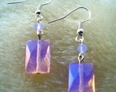 Faceted Pink Opalite Earrings with Swarovski Crystals