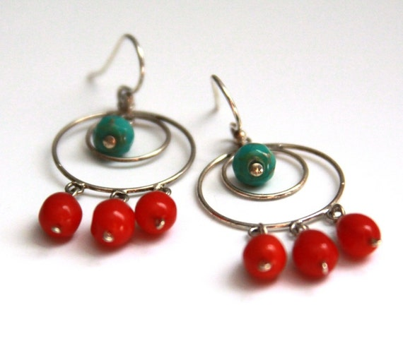 Bohemian Romance Earrings - Red and Turquoise