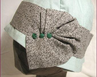 NVL Mint Green Linen Cloche 23 head PLUS SIZE
