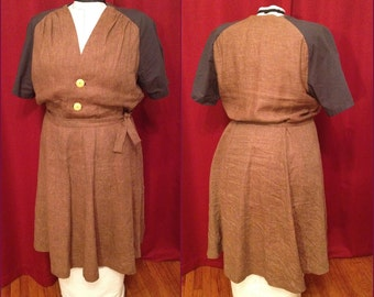 NVL 48 bust 1940s repro Fold over Linen Dress with Raglan sleeves PLUS SIZE