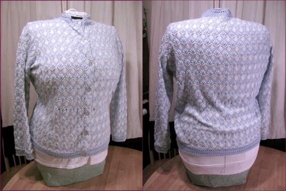 1950s 1960s Lane Bryant powder blue acrylic knit sweater 48 bust PLUS SIZE