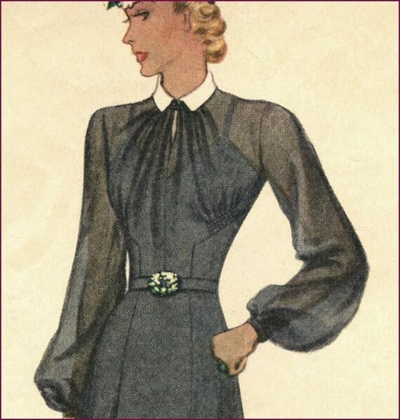 1940s gathered neckline afternoon dress 34 bust