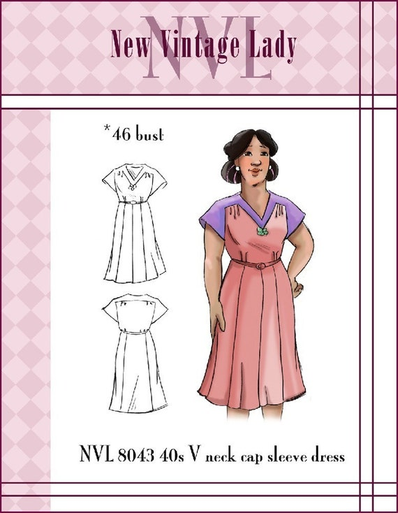 1940s Sewing Patterns – Dresses, Overalls, Lingerie etc  1940s V neckline cap sleeved day frock 46 bust PLUS SIZE 8043 $25.00 AT vintagedancer.com