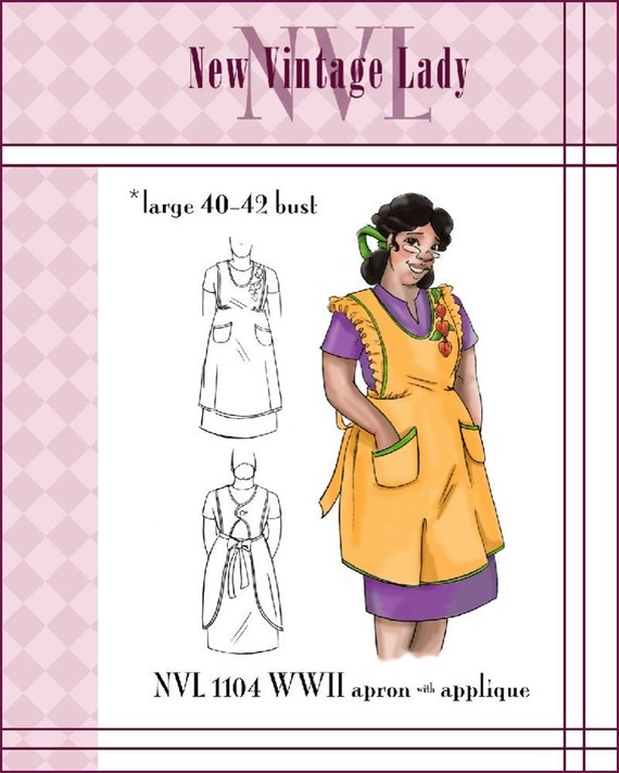 1940s Sewing Patterns – Dresses, Overalls, Lingerie etc NVL 1940s apron with applique pattern 40 42 bust PLUS SIZE 1104 $15.00 AT vintagedancer.com