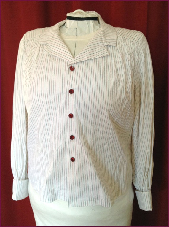 NVL 1940s 48 bust repro Pinstriped cuffed blouse PLUS SIZE