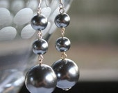 Slate Grey Triple Pearl Earrings