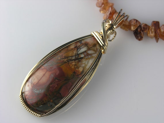 Fire Dance Jasper, Hessonite Garnet Wire wrapped Necklace