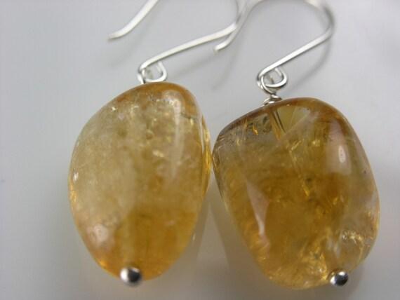 Large Citrine Nugget Earrings