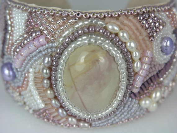 Beaded Jewelry Bead Embroidered Bracelet Cuff (Wide Pastel)