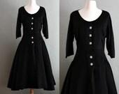 40s L/XL Ada's Black Big City DRESS
