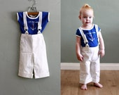70s 12/18 months Blue and White Sailing SUIT