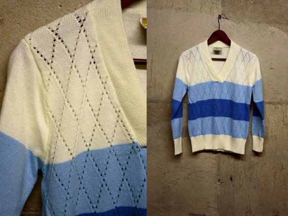 70s S/M Blue Striped Color Block Sweater TOP