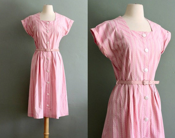 RESERVED - 40's Pale Pink Button Up DRESS
