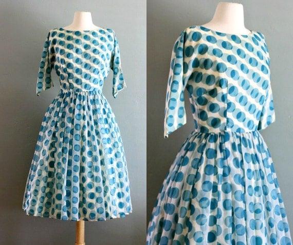 50's S Silk Chiffon Polkadot Party DRESS