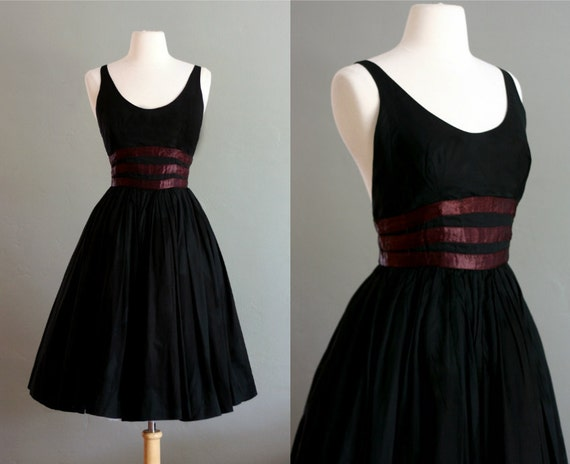 RESERVED 50's XS/S Black Low Cut Organdy Party DRESS