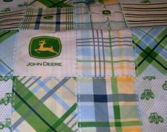 MadieBs John Deere Blue Plaid Custom Toddler Bed Sheet Set