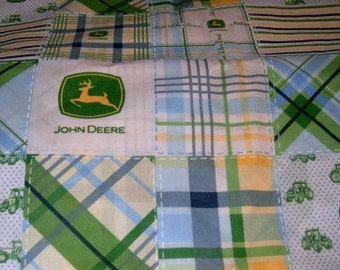 MadieBs Blue Green Patchwork John Deere Toddler Sheets w/pillowcase  Custom