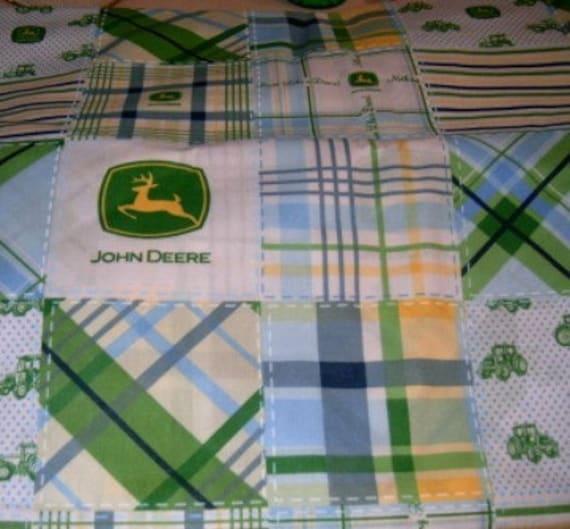 John Deere Toddler Bedding Sets : Madiebs john deere blue plaid custom toddler bed sheet set