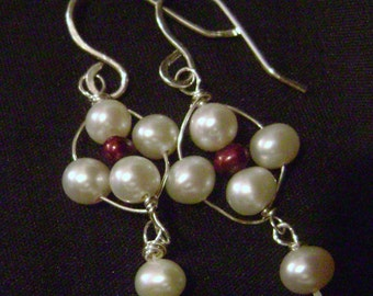 Sea Daisy Dangles, freshwater pearl, white, red, maroon, flower, nature sterling silver, unique, feminine, dainty