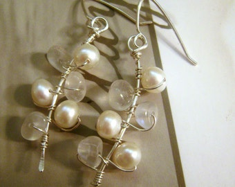 Moon Dance Dangles, rainbow, moonstone, freshwater pearl, white, artisan, handcrafted, sterling silver, wire wrapped, artisan, sea, wedding