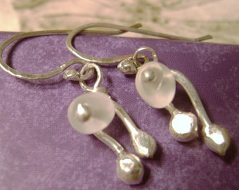 Moonstone Double Dangles, rustic, artisan, nature, gift, buds, Spring, romantic, funky, dainty, petite, healing, white, clear, feminine