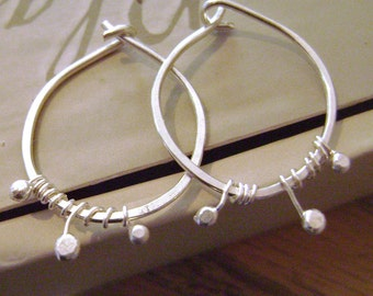 Sterling Silver Hoops with Winding buds, nature, handmade, dainty, organic, wire wrapped, gift, her, rustic, fused, rustic, minimalist,