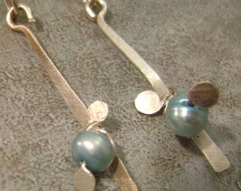 Sprouting Pearl Stix  (Aqua), blue, ocean, sea, freshwater pearl, handcrafted, rustic, nature, stick earring, dangle, drop, wire wrapped